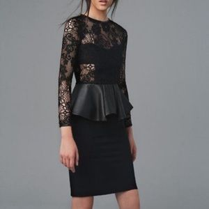 Zara black lace and Leather Peplum Dress